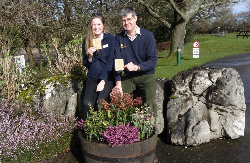 Michael Holgate and marketing assistant Ellen Cartwright with some of the bee-friendly seeds being sown