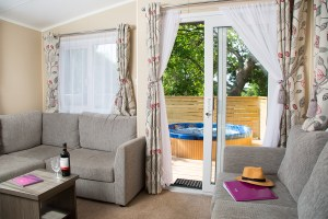 """One of Beverley's new luxury """"glaravans"""" with its private hot tub"""