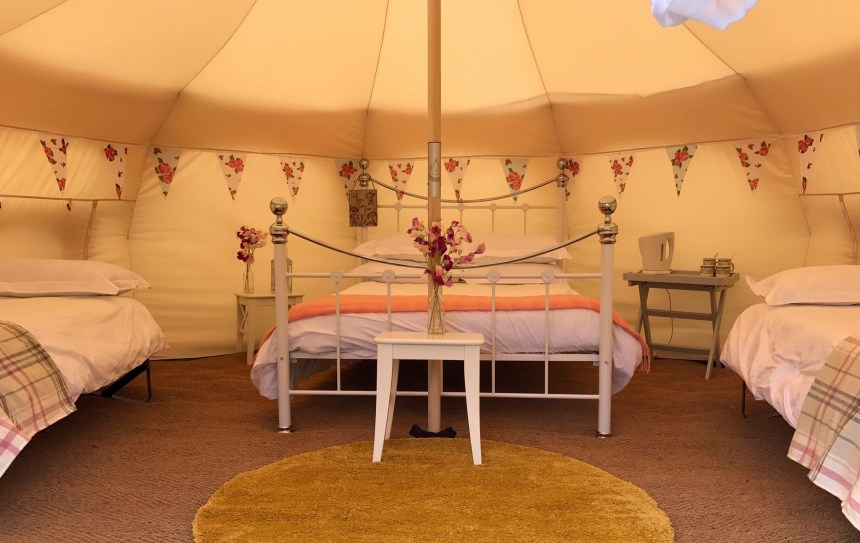 Comfy full-size beds and sumptuous surroundings make Broadhembury's camping experience like no other