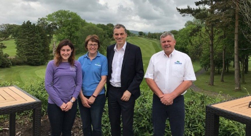 On course for success are (from left) Isabel Marshall, Jane Marshall, Julian Smith MP and Thomas Marshall