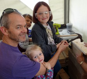 Building their own bird boxes at the nature discovery day