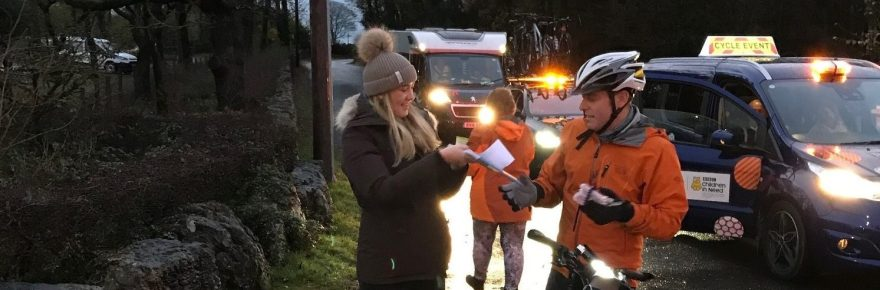 The One Show's Matt Baker pulls up to receive the £500 donation for Children in Need from Silverdale park