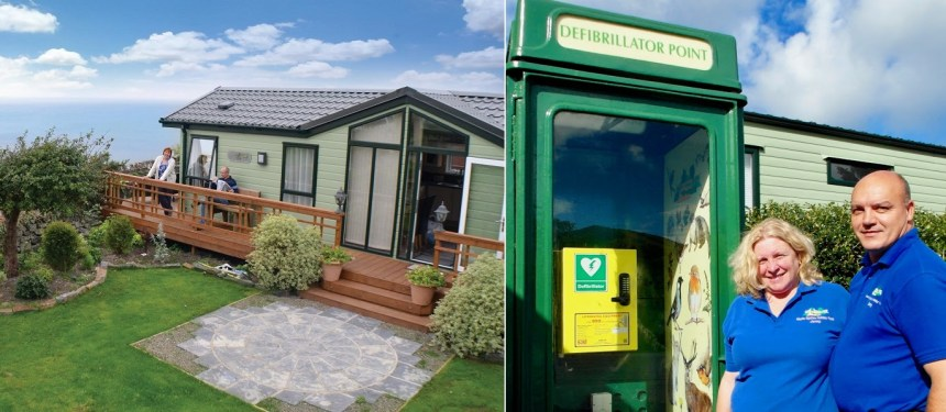Morfa Bychan holiday park near Aberystwyth (above) also has a defibrillator ready for instant deployment
