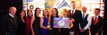 The X Factor's James Hughes (far right) joins the Wood Leisure team under the spotlight at the awards