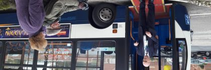 All aboard: bus journeys from the park are now hitch-free for those with limited mobility such as Clive (above)