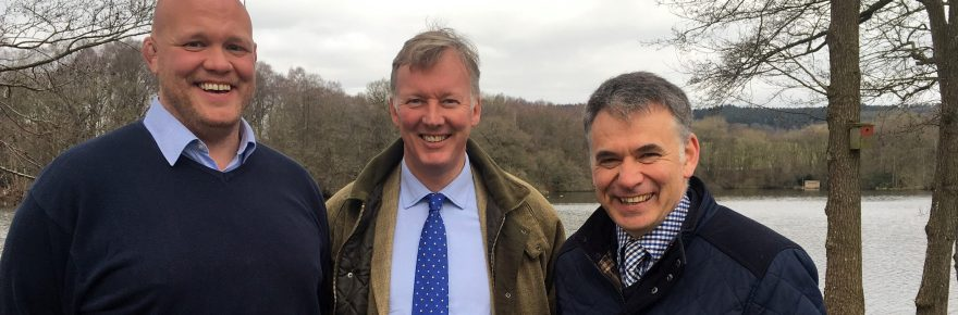 Pearl of a park: Bill Wiggin MP (centre) takes a tour with manager Alex Davidson (left) and group MD Glenn Jones