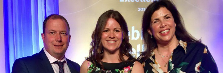 TV presenter Kirstie Allsopp (right) congratulates Phil and Becki Osborne on their VisitEngland 2018 award