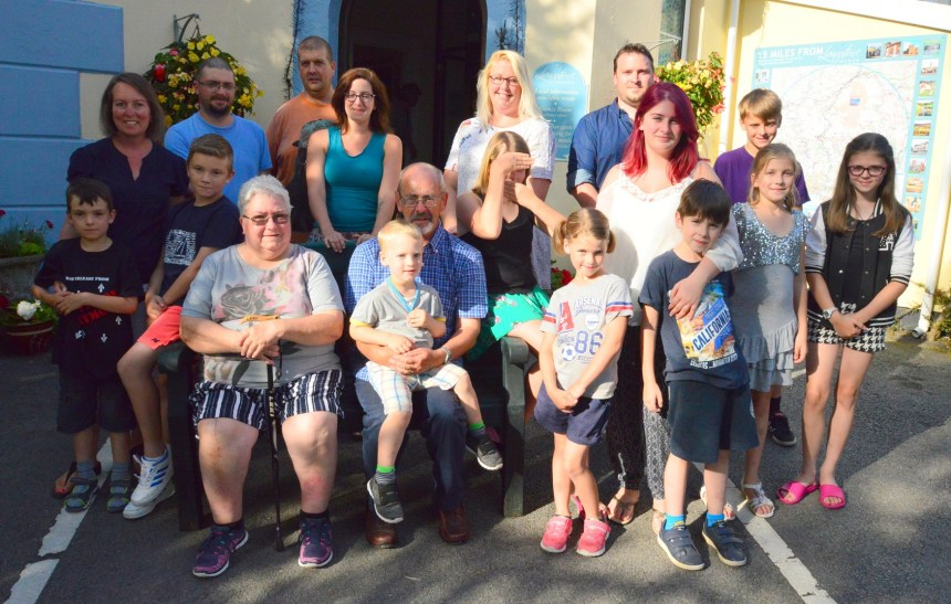 Moor the merrier: Margaret and Peter are joined by their extended family at the couple's Devon holiday heaven