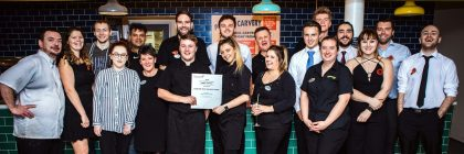 First-class fayre: members of Ladram Bay's catering team celebrate their Hoseasons Customer Choice Food Award