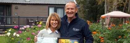 Park manager Darren Battersby with Debbie Jackson who both helped secure Fir Trees its green accolade