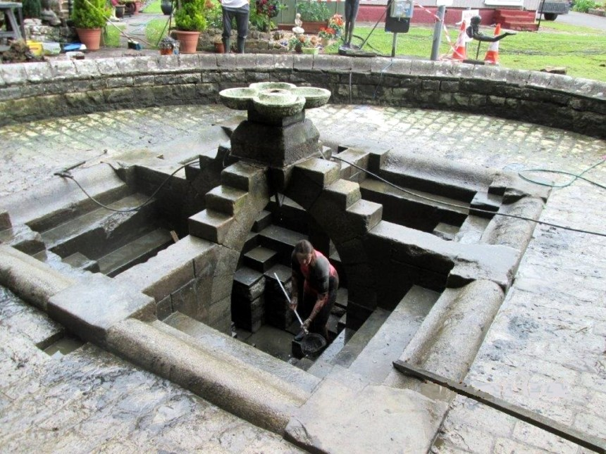 Hidden charms: the historic wallowing pool was only discovered after the ornamental pond had been drained