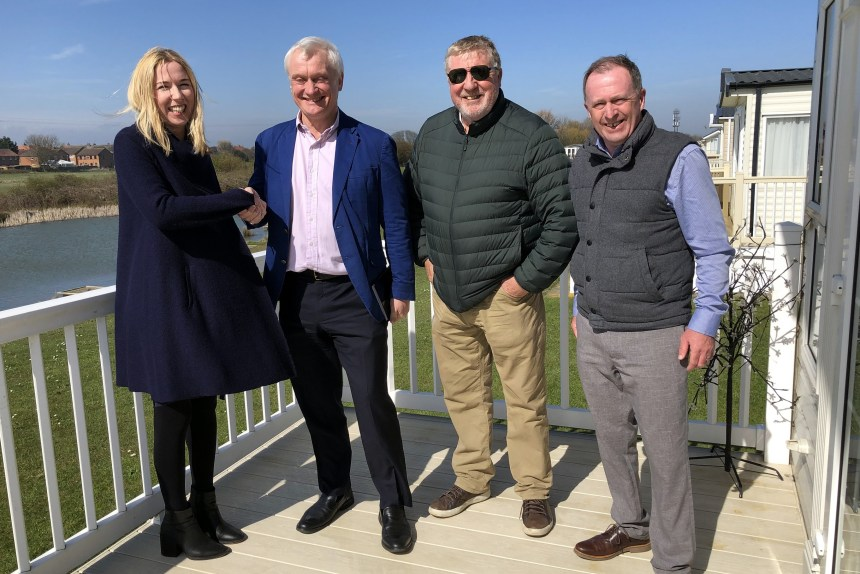 Waving the flag for East Yorkshire tourism are (from left) Laura Firth from Longbeach Leisure Park with Graham Stuart MP, Laura's father and park founder Martin Varley, and park manager Chris Wilson