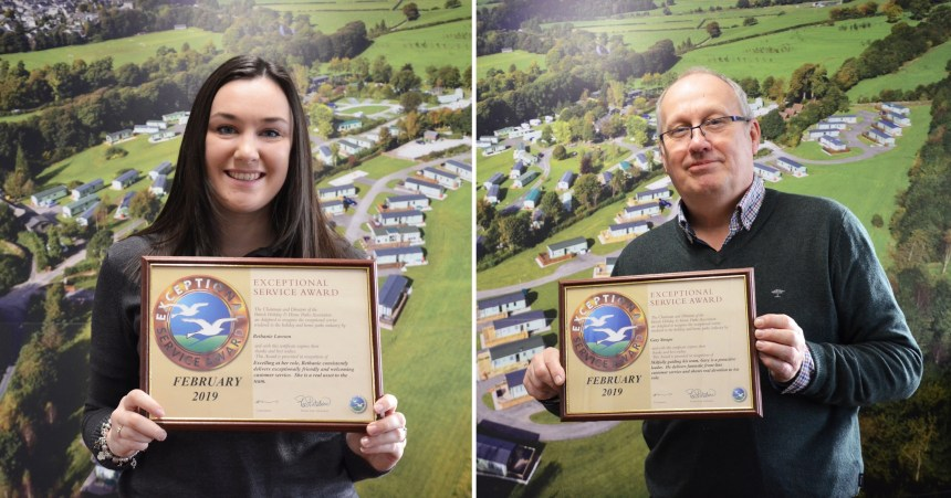 Top performers Bethanie Lawson and Gary Stoupe from Woodclose Caravan Park gain top industry awards