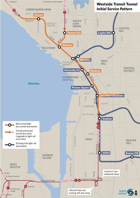Westside Transit Tunnel concept. (Ross Brinkley / Seattle Transit Blog)