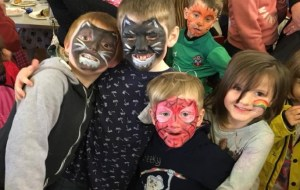 Children with Facepaint having fun at St Barnabas Church Winchester