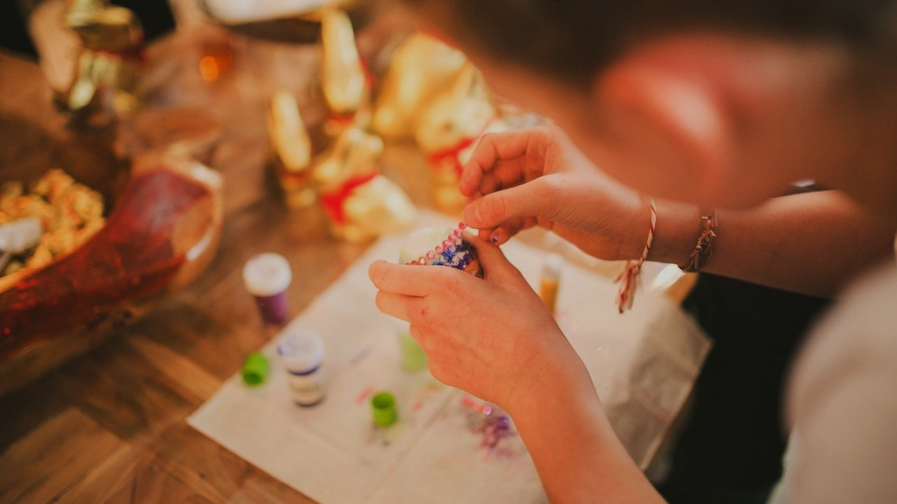 woman completing craft project