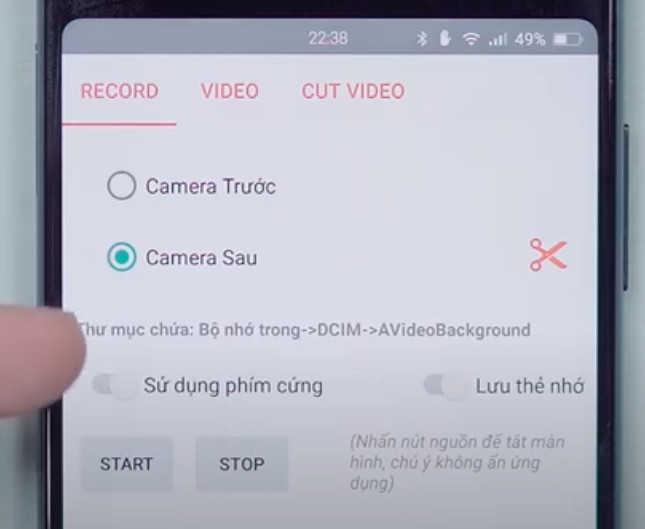 Phần mềm quay video bí mật tắt màn hình cho Android