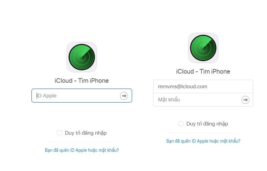 Nhập id Apple mà mật khẩu