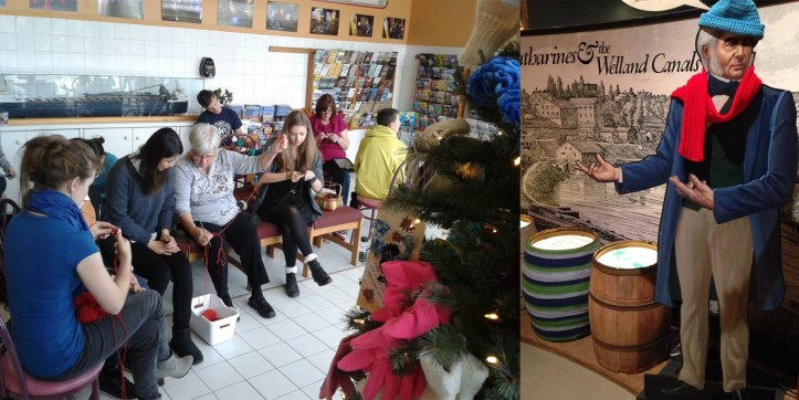 Group of people knitting beside mitten tree, second image of William Hamilton Merritt figure wearing a knit hat and scarf