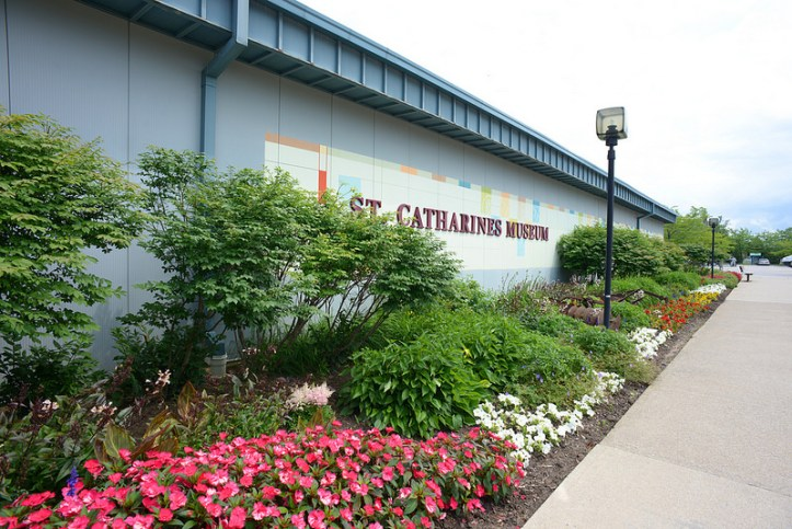 Flowerbed along the front of the St. Catharines Museum and Welland Canals Centre
