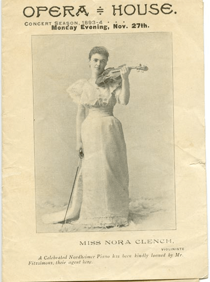 Grand Opera House programme, 1893/1894. Featured on the front is internationally renowned violinist Nora Clench.