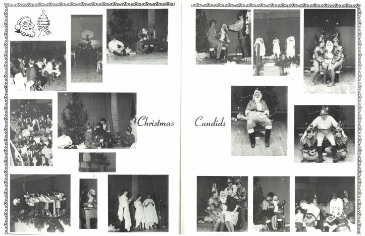 Collage of photos from Merritton High School Christmas 1967 festivities.