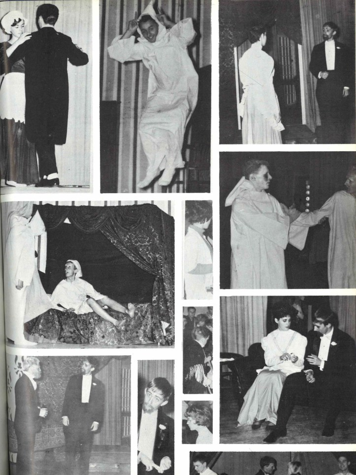 Collage of images from the 1963/1964 drama club season at Sir Winston Churchill High School.