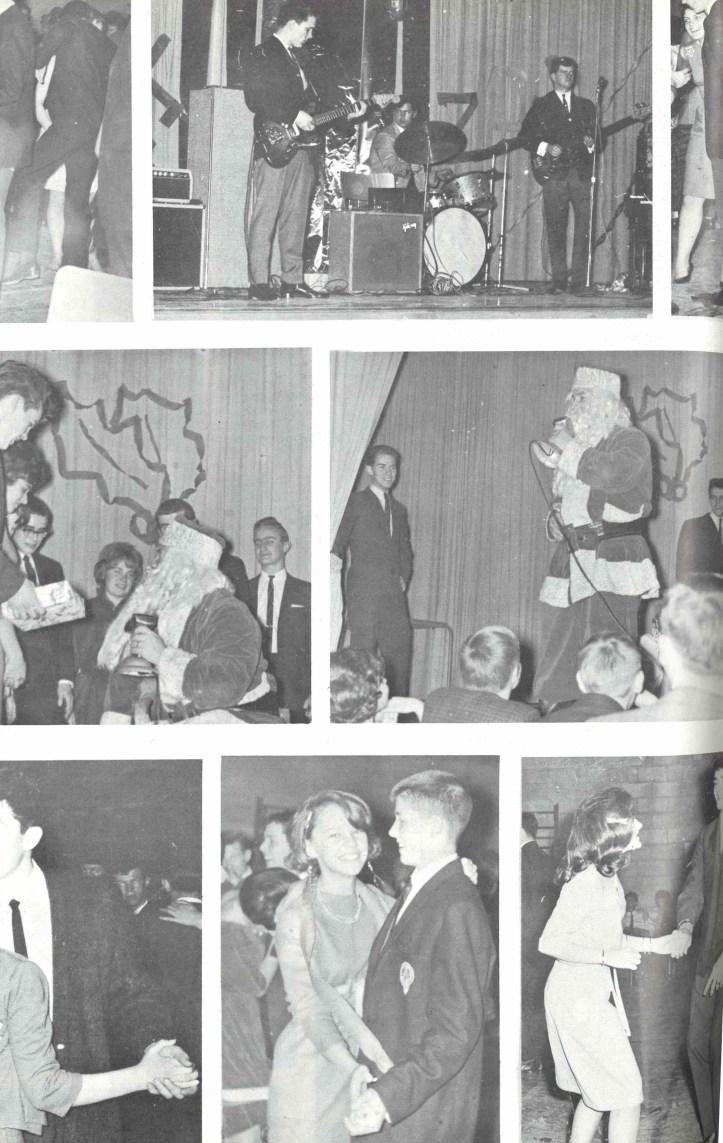 Collage of photos from Sir Winston Churchill High School Christmas 1963 festivities.