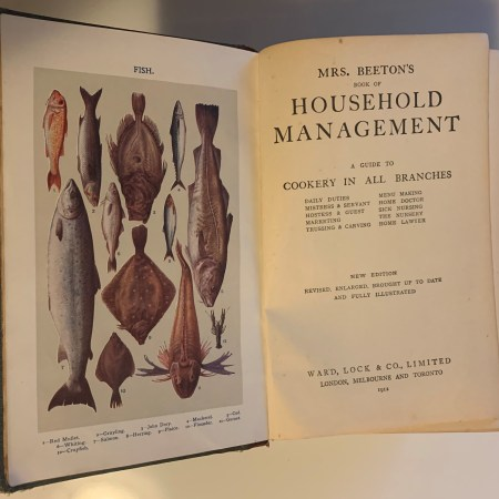 The inside cover page of Mrs. Beeton's Book of Household Management