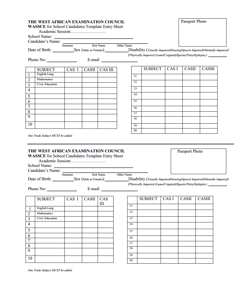 WAEC Cass Form Registration Template for SS1 Free PDF