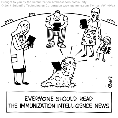 "Three people reading on tablets and one virus also reading on a tablet. The tablet reads, ""Everyone shoud read the Immunization Intelligence News."" The virus appears frightened."