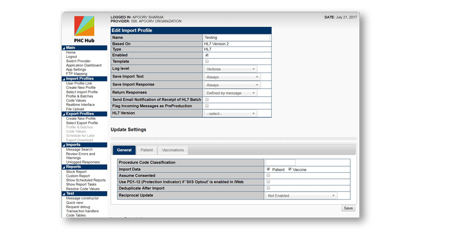 Screenshot from the PHC Hub application showing an example Edit Import Profile page