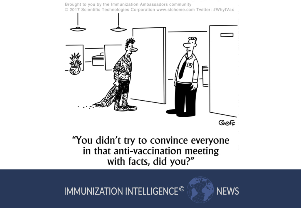 "Cartoon of two men in an office. One man looks like he was beaten up or mauled. The other man says to him, ""You didn't try to convince everyone in that anti-vaccination meeting with facts, did you?"""