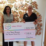Tracey and Paula holding the giant cheque