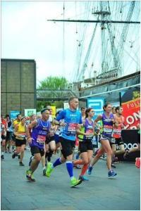 St Clare Hospice marathon runner by the Cutty Sark