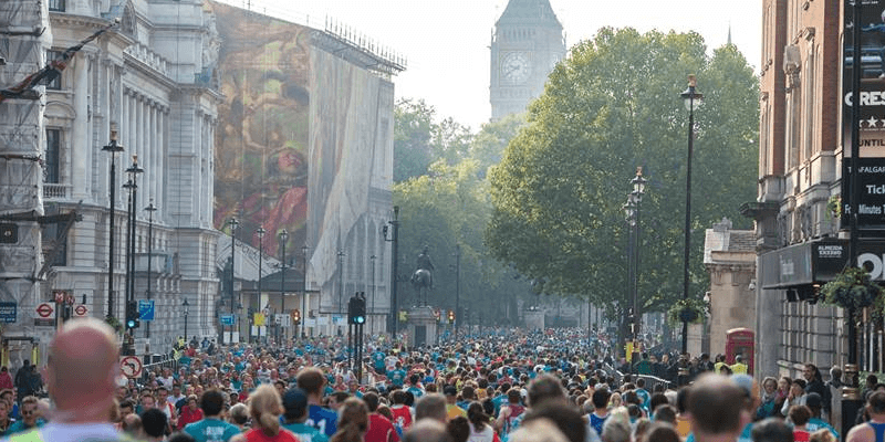 Thousands of runners heading towards Big Ben in the Royal Parks Half Marathon