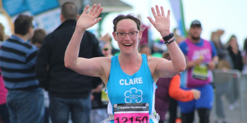 Clare running the Brighton Marathon