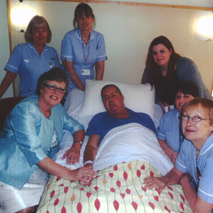 Steve and Sue Barclay with the Inpatient Unit nurses