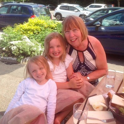 Lottie with her nanny and sister