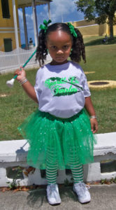 3-year-old Ne'Kyla Hazel is ready with her baton.