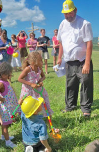 The Rev Rodney Koopmans at the 2012 groundbreaking for the church wind turbine.