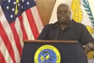 Gov. Kenneth Mapp addresses a news conference. (File photo)