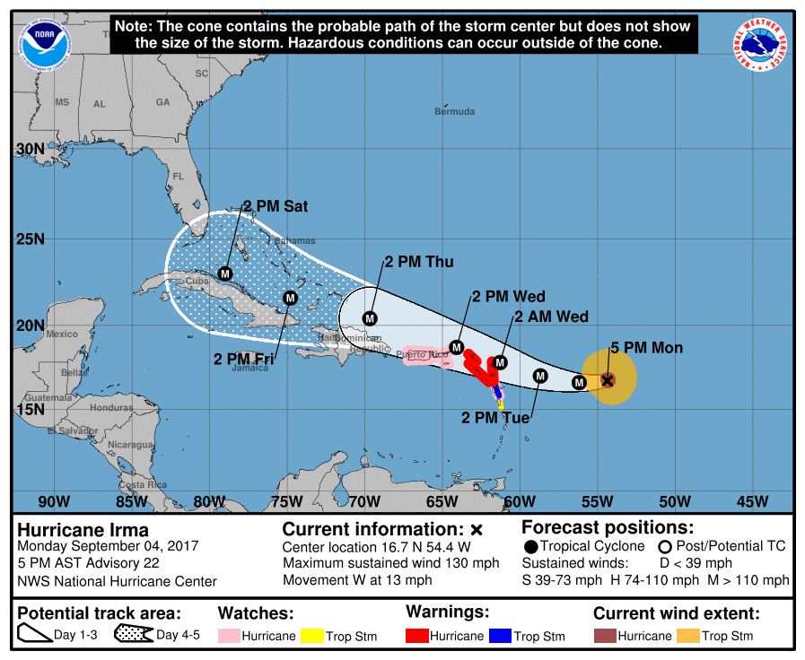 The Nhc Warned That Irma Could Directly Affect The U S And British Virgin Islands And Puerto Rico As A Dangerous Major Hurricane Accompanied By