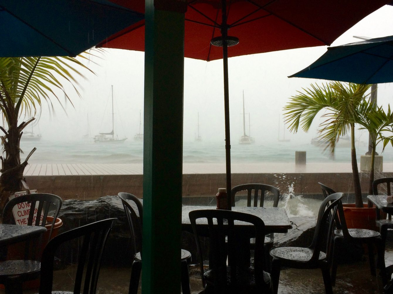 Have some lunch at Rum Runners, and watch the storm whip by!