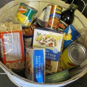 Non-perishable food in a basket.