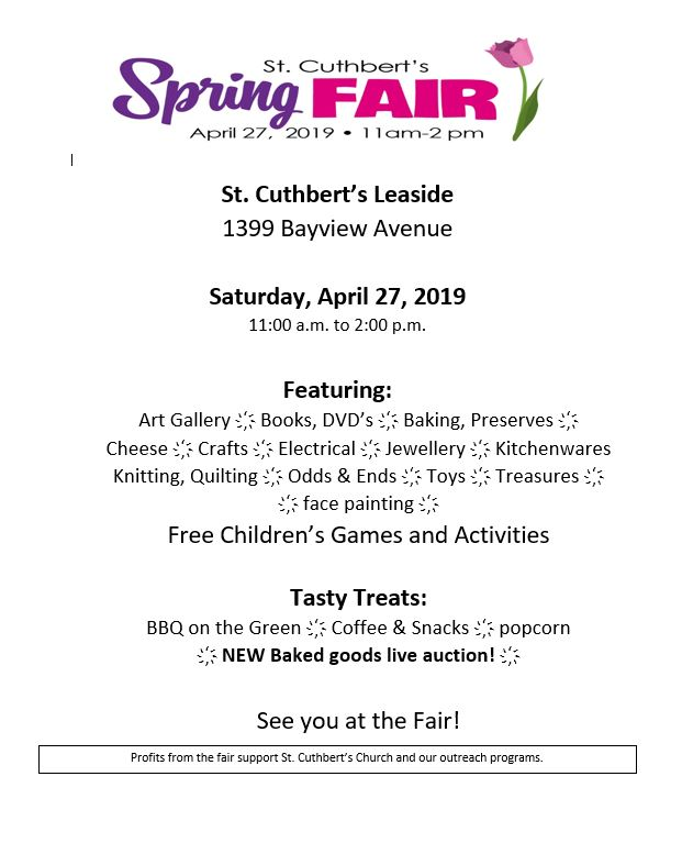 2019 Spring Fair Flyer