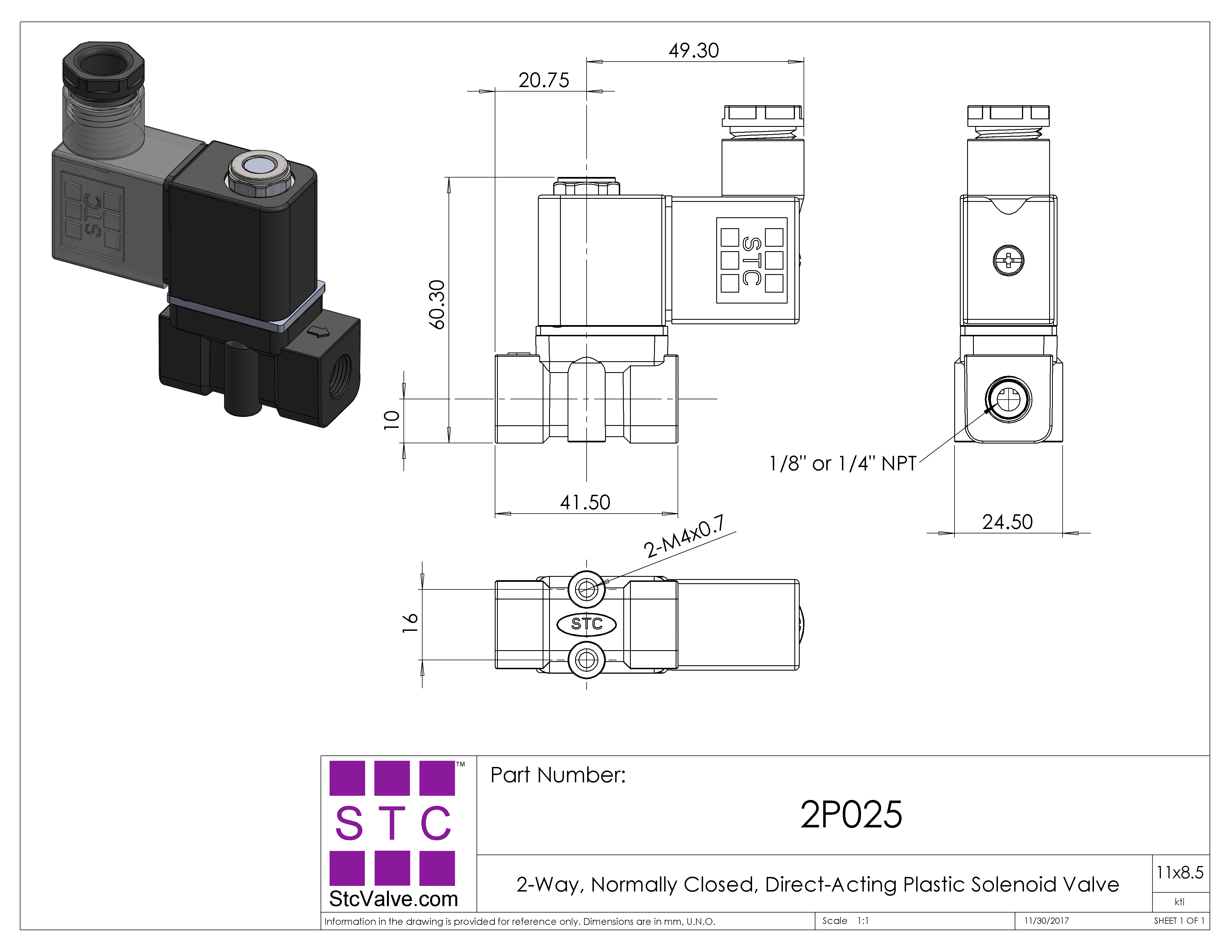 2P025: 2-Way, 2-Position Direct Acting Plastic Solenoid Valve