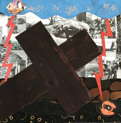 Collage: Dark wood cross lies on the ground.