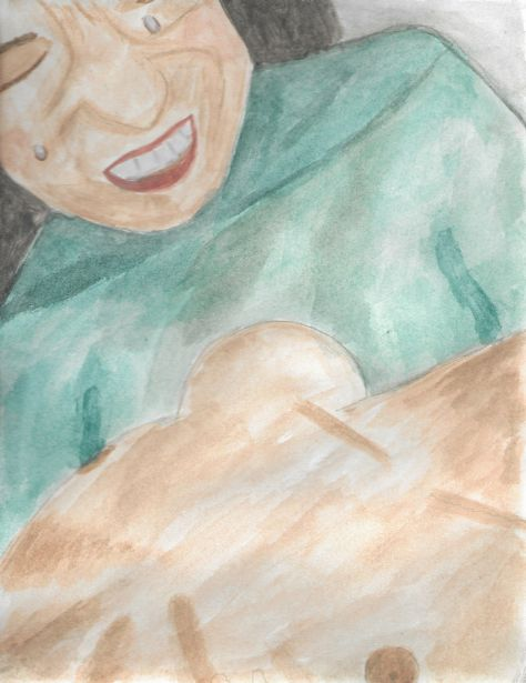Watercolor painting: a weeping woman holds an infant.