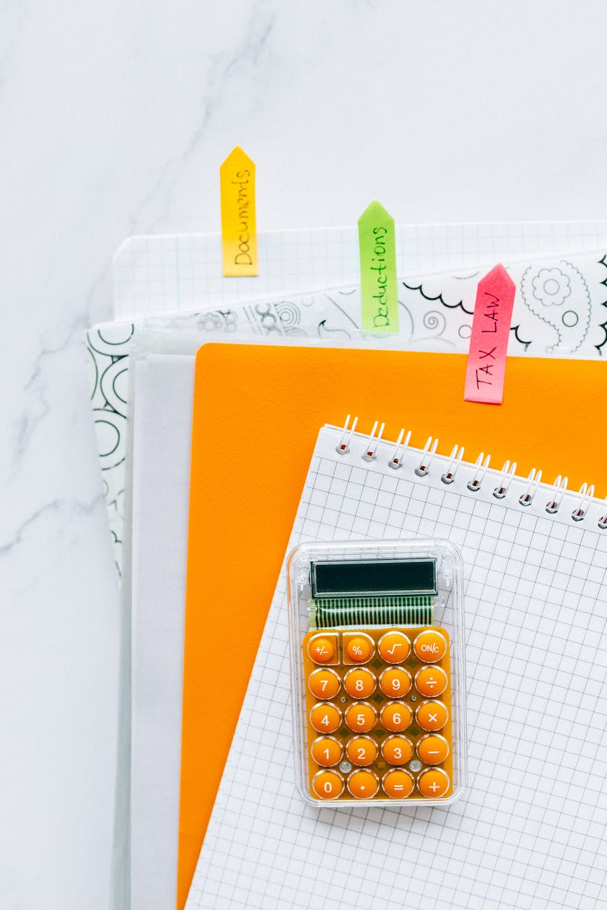 calculator and tax documents